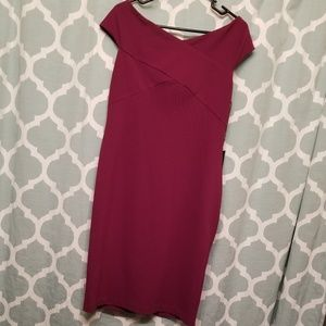 Adrianna Papell Magenta Fitted Off-Shoulder Dress